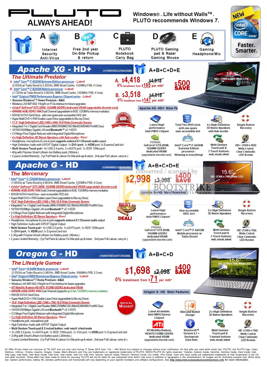 PC Show 2010 price list image brochure of Pluto Technology Notebooks Apache XG HD G Oregon