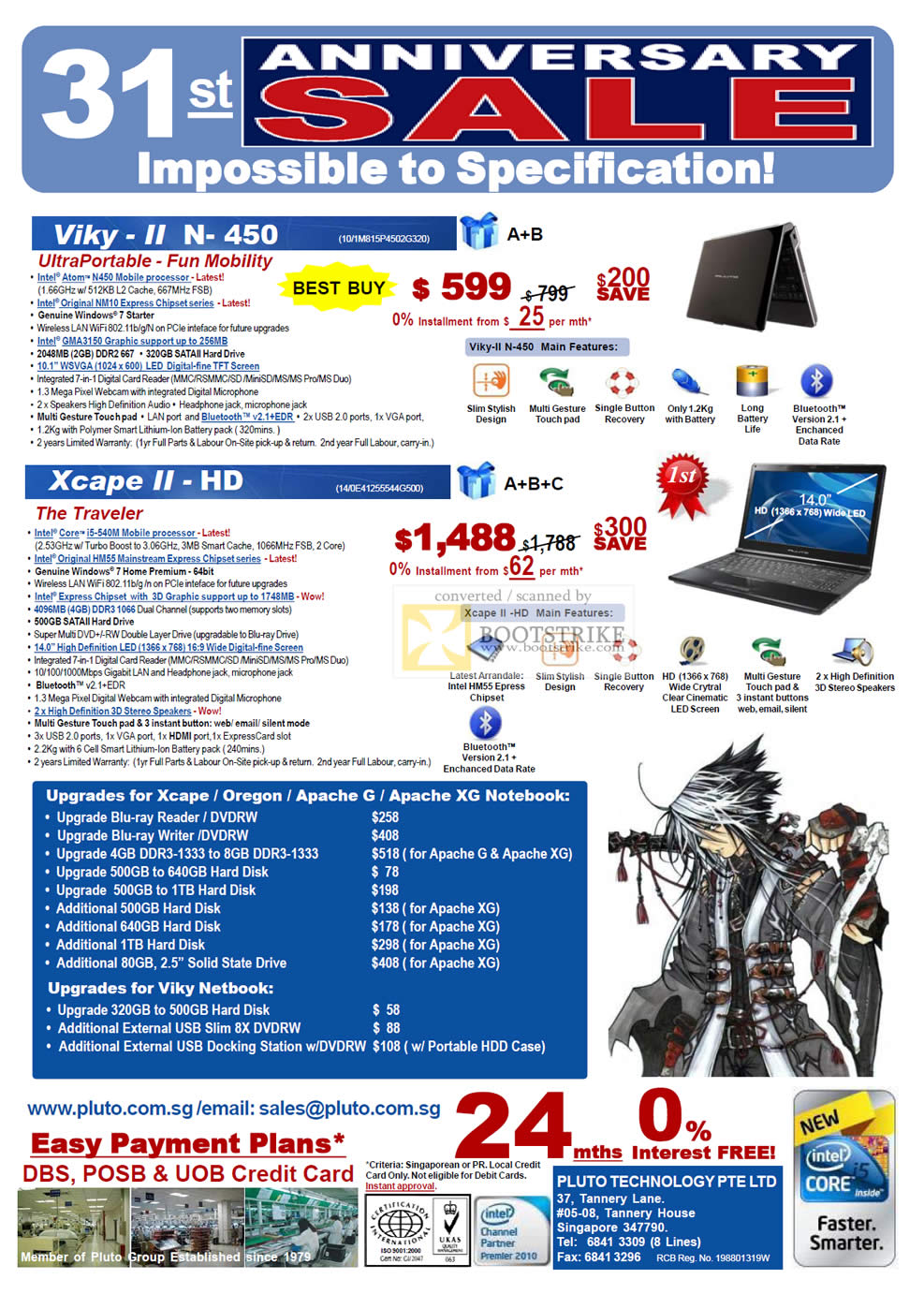 PC Show 2010 price list image brochure of Pluto Technology Notebooks Viky II N 450 Xcape II HD