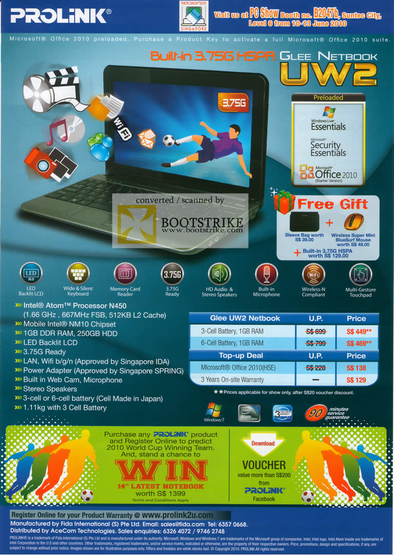 PC Show 2010 price list image brochure of Prolink Netbook UW2 HSPA 3 75 G