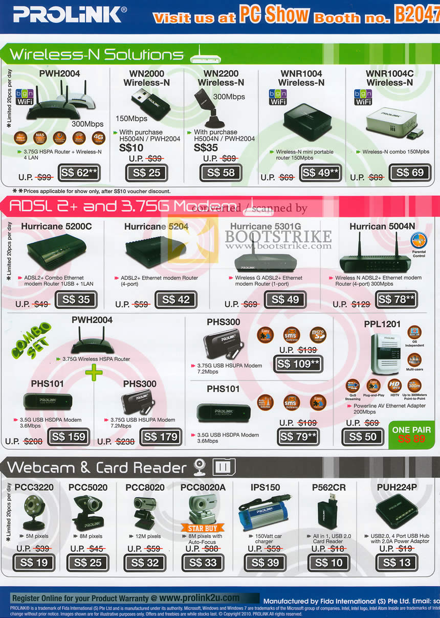 PC Show 2010 price list image brochure of Prolink Wireless N Router PWH2004 WN2000 USB Adapter ADSL Modem Hurricane Webcam PCC3220 Card Reader