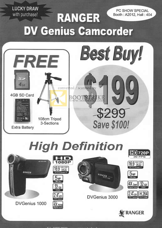 PC Show 2010 price list image brochure of Ranger DV Genius Video Camcorder 1000 3000
