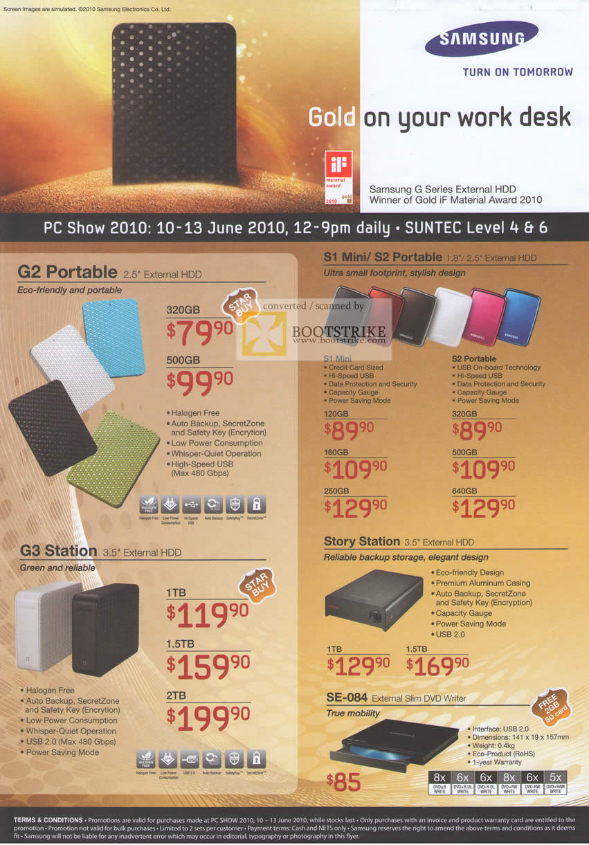 PC Show 2010 price list image brochure of Samsung External Storage G2 Portable S1 Mini S2 Portable Story Station G3 Station SE 084