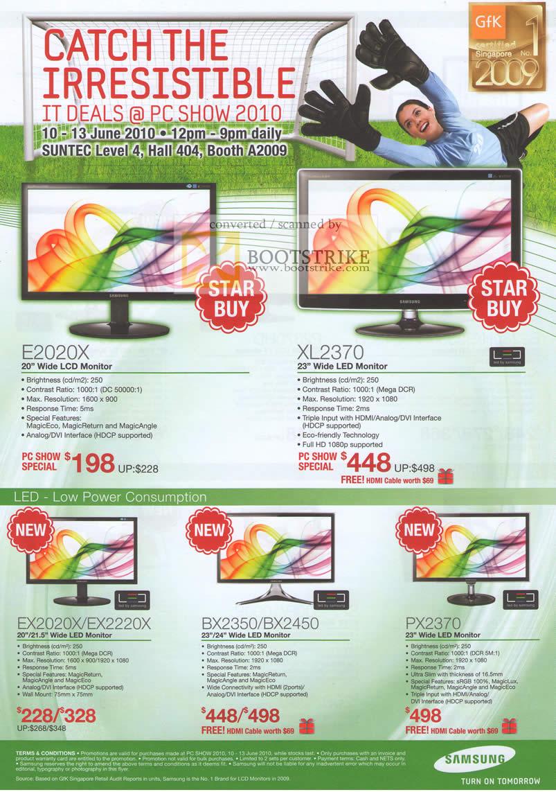 PC Show 2010 price list image brochure of Samsung LCD LED Monitors E2020X XL2370 EX2220X BX2350 BX2450 PX2370