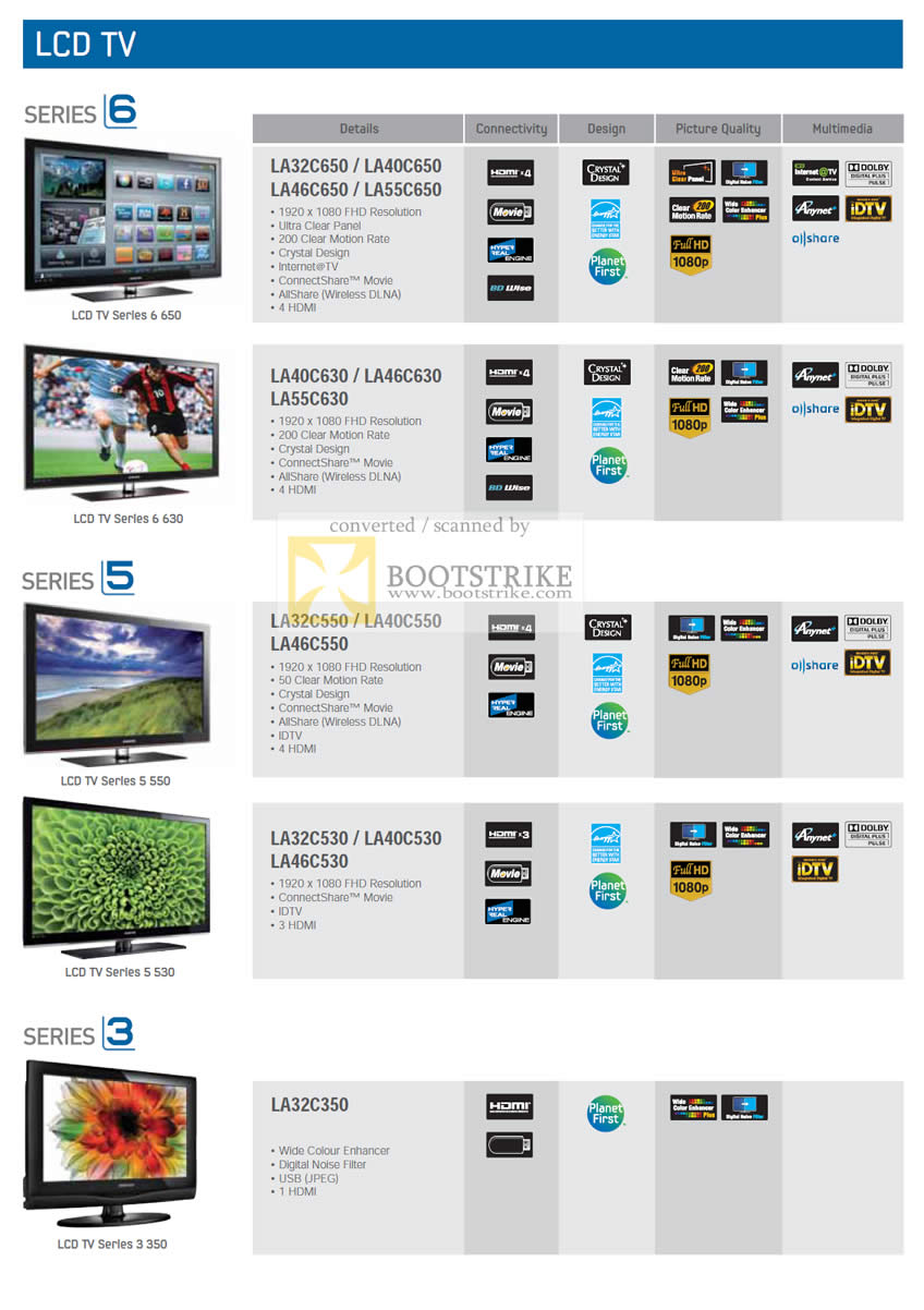 PC Show 2010 price list image brochure of Samsung LCD TV Series 6 650 630 5 550 530 3 350