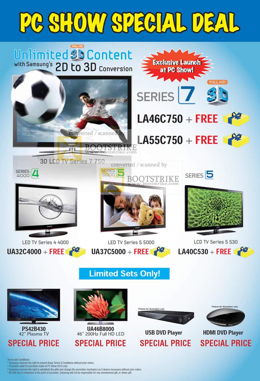 samsung series 7 3d lcd tv 750 4 4000 5 5000 530 usb dvd