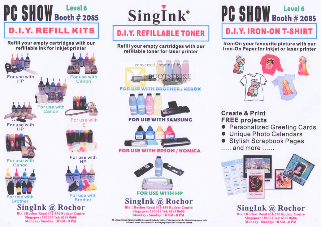 PC Show 2010 price list image brochure of Singink Printer Refill Kits Toner Iron On T Shirt HP Canon Brother