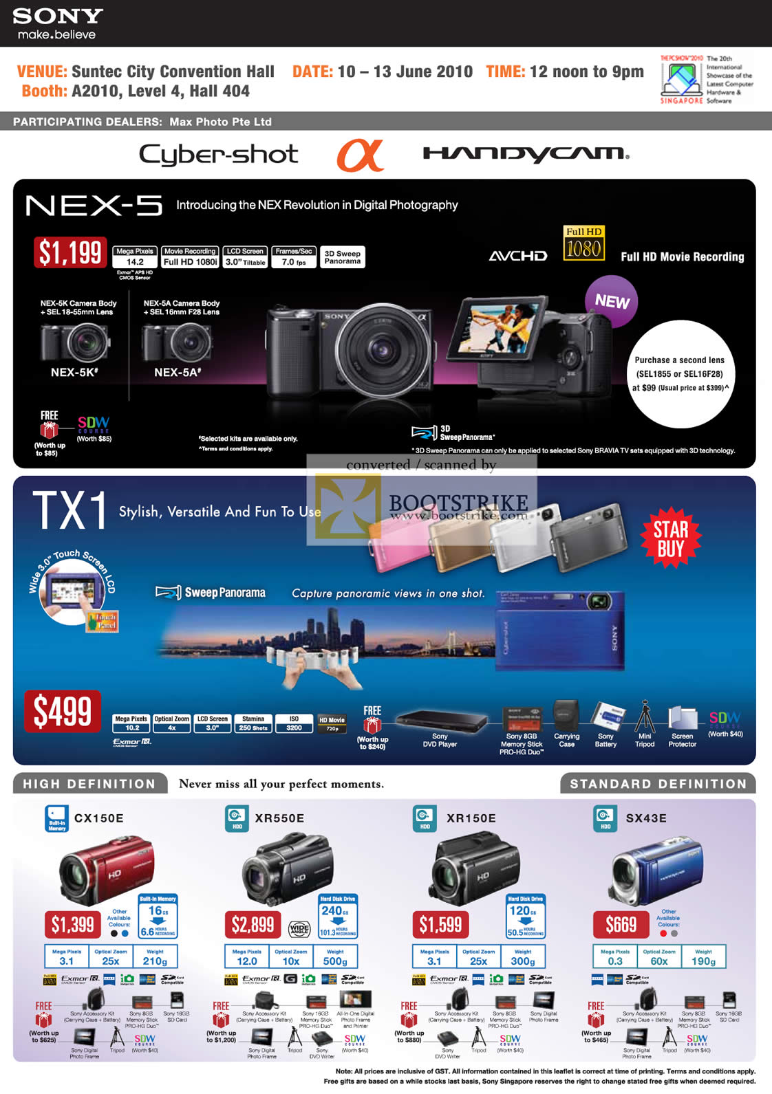 sony camera cybershot price list. pc show 2010 price list image brochure of sony alpha cybershot handycam nex 5 5k 5a. « camera
