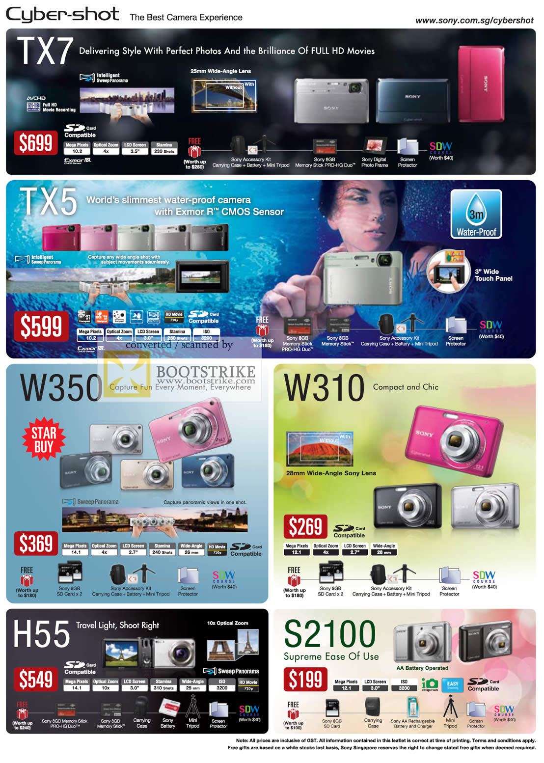 PC Show 2010 price list image brochure of Sony Cybershot Digital Cameras TX7 TX5 W350 W310 H55 S210