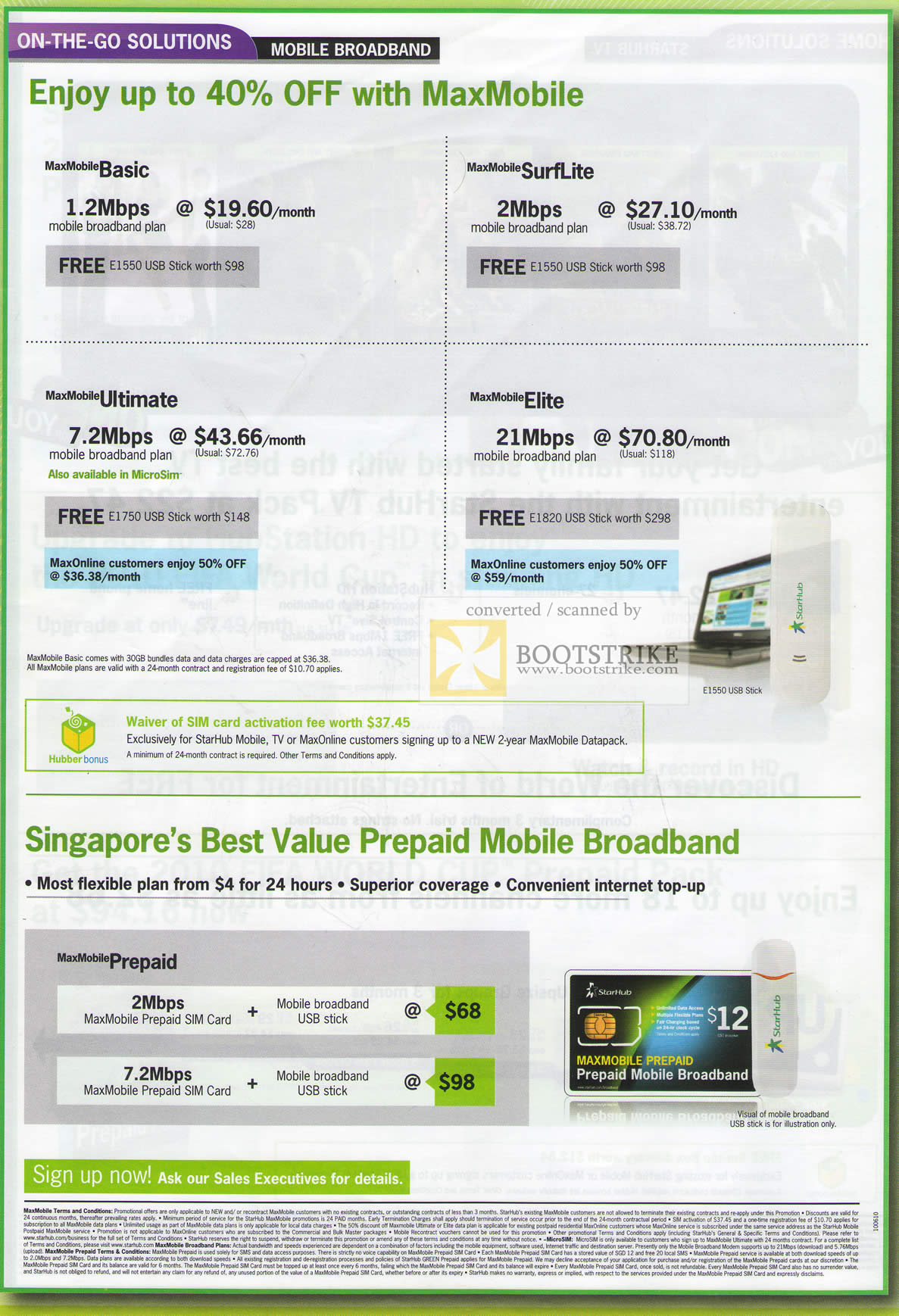 PC Show 2010 price list image brochure of Starhub MaxMobile Basic SurfLite Ultimate Elite Prepaid Mobile Broadband