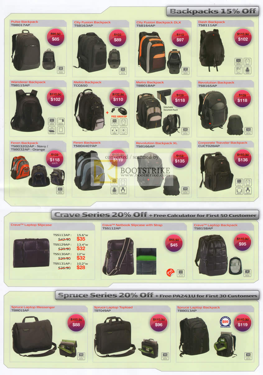 PC Show 2010 price list image brochure of Targus Backpacks Pulse City Fusion Dash Wanderer Metro Revolution Corporate Crave Case Spruce