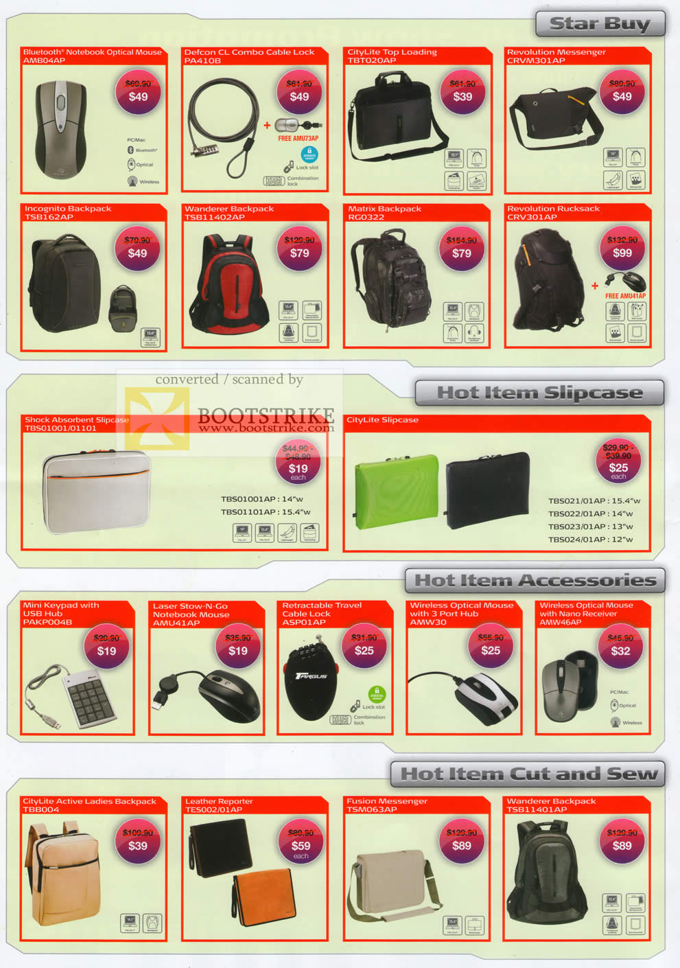PC Show 2010 price list image brochure of Targus Bluetooth Notebook Mouse Cable Lock Casing Bag Backpack Citylite Mini Keypad