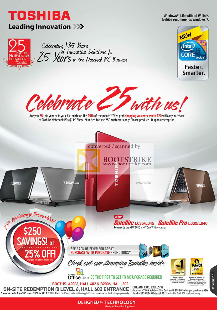 toshiba 25th anniversary promotion pc show 2010 price list brochure flyer image. Black Bedroom Furniture Sets. Home Design Ideas