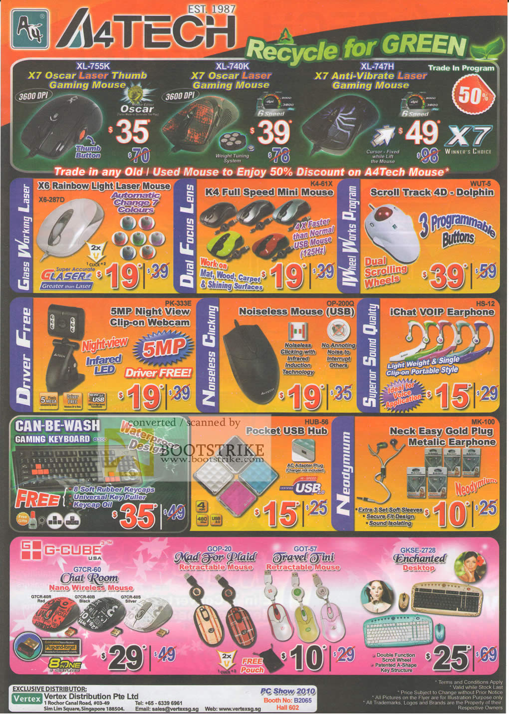 PC Show 2010 price list image brochure of Vertex A4Tech Gaming Mouse X7 Oscar Laser Anti Vibrate Rainbow Dolphin Webcam Noiseless IChat VOIP Keyboard