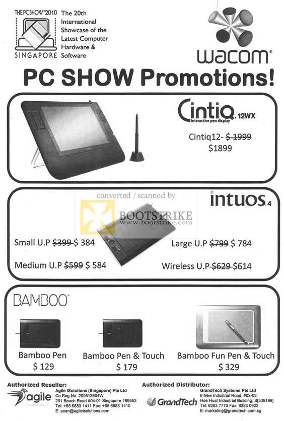 PC Show 2010 Price List Image Brochure Of Wacom Cintiq 12WX Cintiq12 Intuos Bamboo Pen Touch