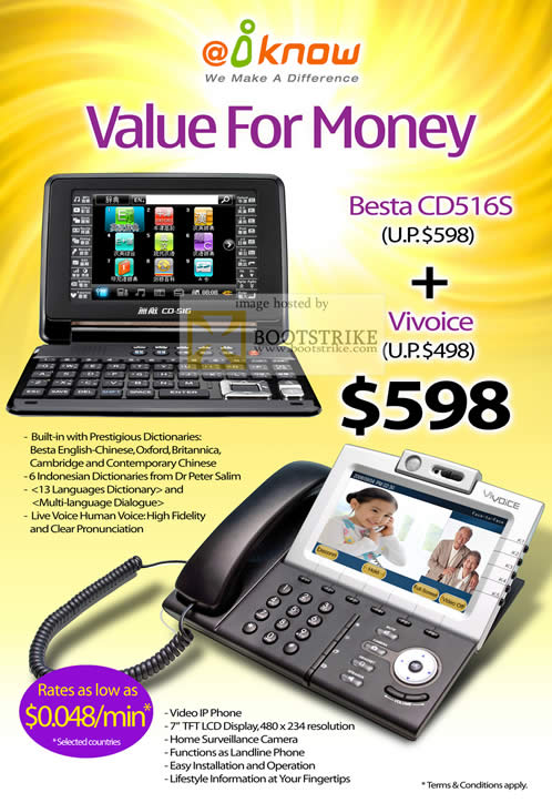 PC Show 2010 price list image brochure of IKnow Besta CD516S Translator VOIP Phone