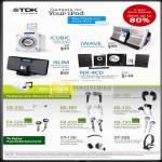 TDK IPod Speakers ICubic ISlim IWave NX 4CD Earphones EB 250 300 100 350 550 650 750 Headphones ST 150 350