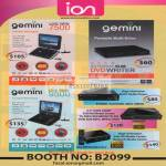 Gemini Portable DVD Player Slim Writer 9500 Live View Media Player P2000