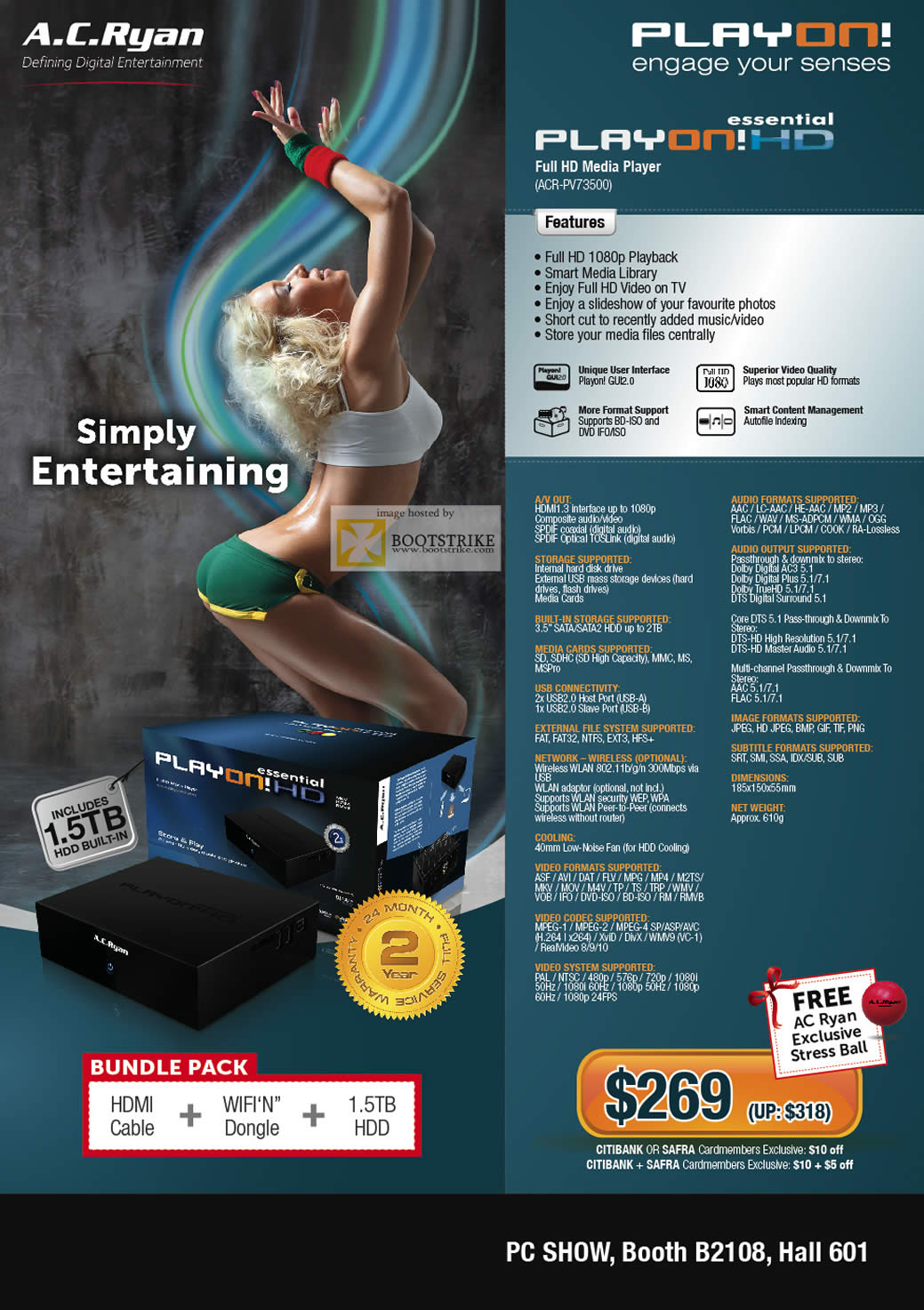 PC Show 2011 price list image brochure of A.C. Ryan Play On! HD Essential ACR-PV73500 Media Player