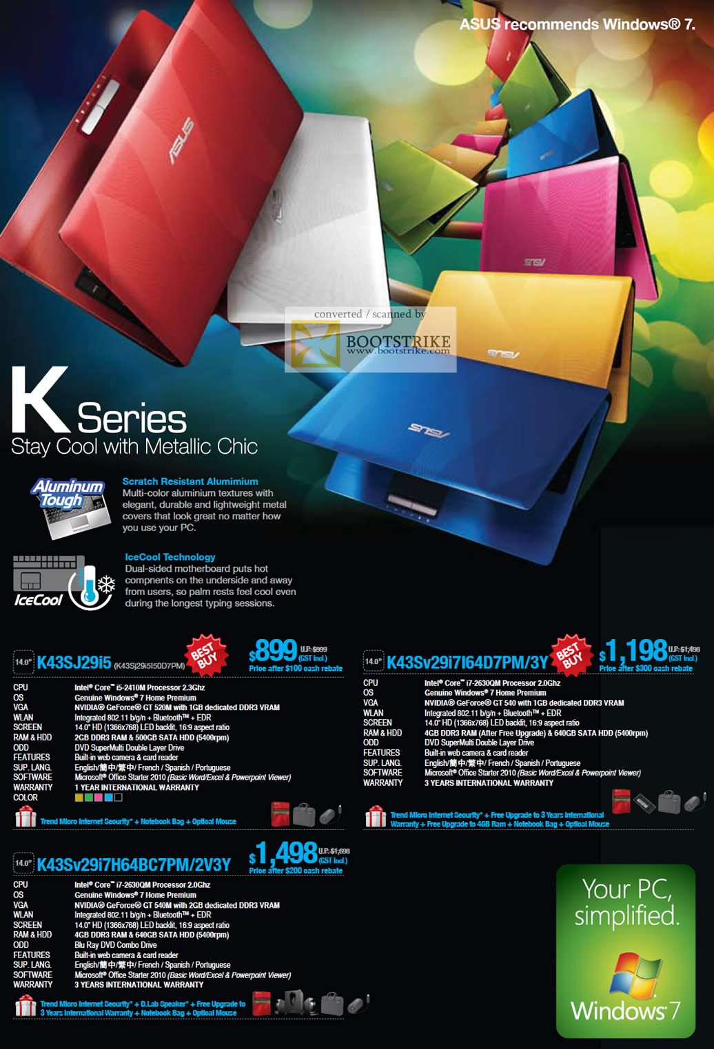 PC Show 2011 price list image brochure of ASUS Notebooks K Series K43SJ29i5 K43Sv29i7I64D7PM 3Y K43Sv29i7H64BC7PM 2V3Y IceCool