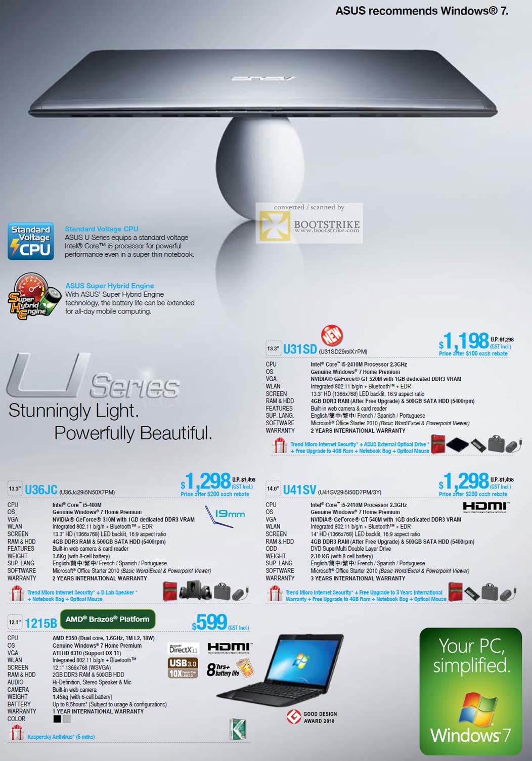 PC Show 2011 price list image brochure of ASUS Notebooks U Series U31SD U41SV U36JC 1215B AMD Brazos