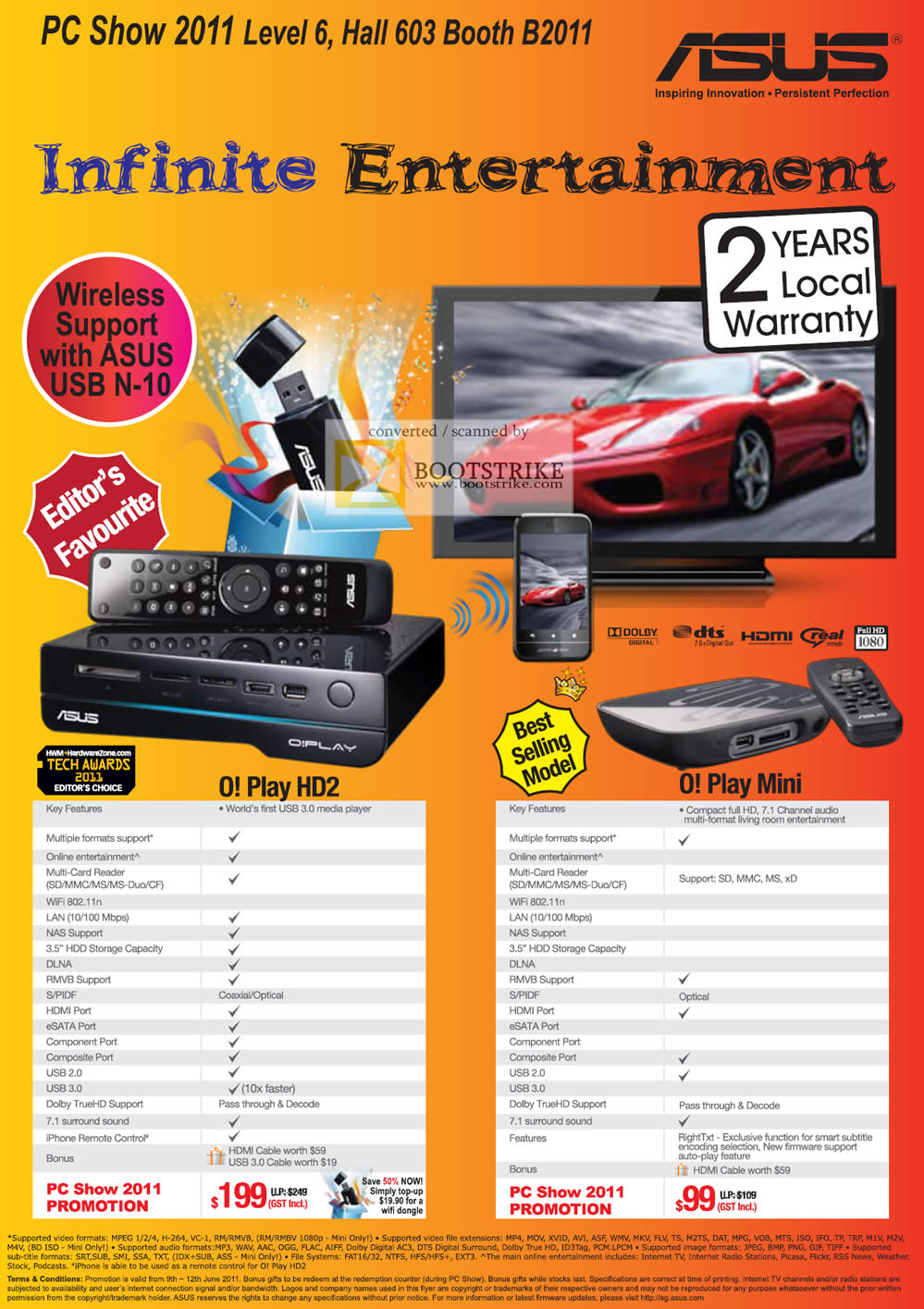 PC Show 2011 price list image brochure of ASUS O! Play Media Player HD2 Mini