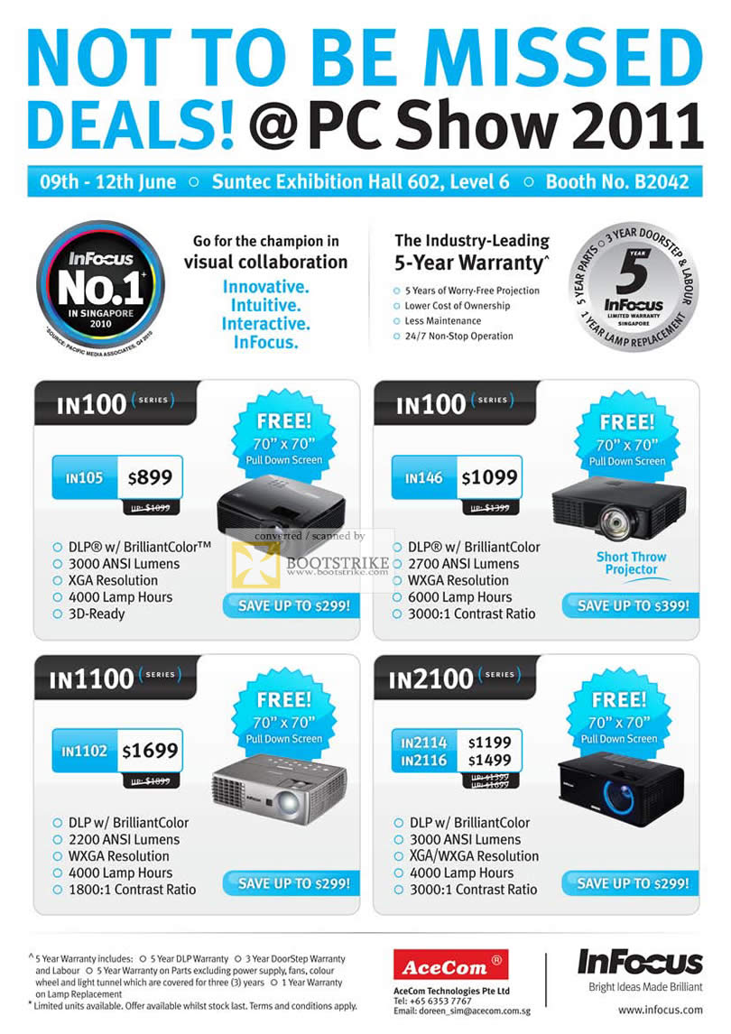 PC Show 2011 price list image brochure of AceCom InFocus Projectors IN100 IN1100 IN2100 IN105 IN146 IN1102 IN2114 IN2116