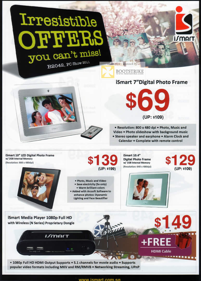 PC Show 2011 price list image brochure of AceCom ISmart Digital Photo Frame Media Player Wireless