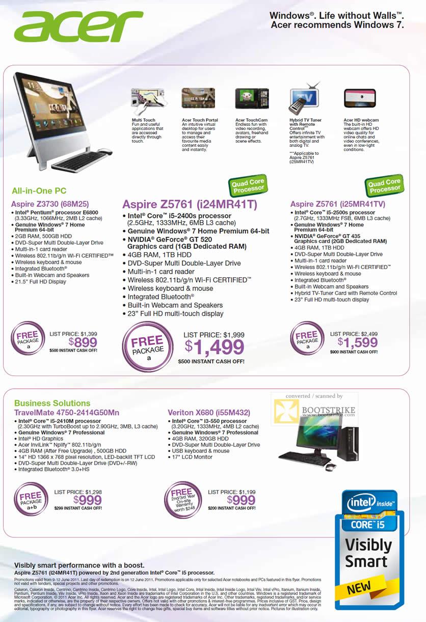 PC Show 2011 price list image brochure of Acer Desktop PC AIO Aspire Z3730 Z5761 Business TravelMate 4750 Veriton X680