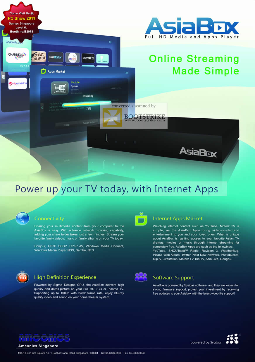 PC Show 2011 price list image brochure of Amconics AsiaBox Media Player Syabas