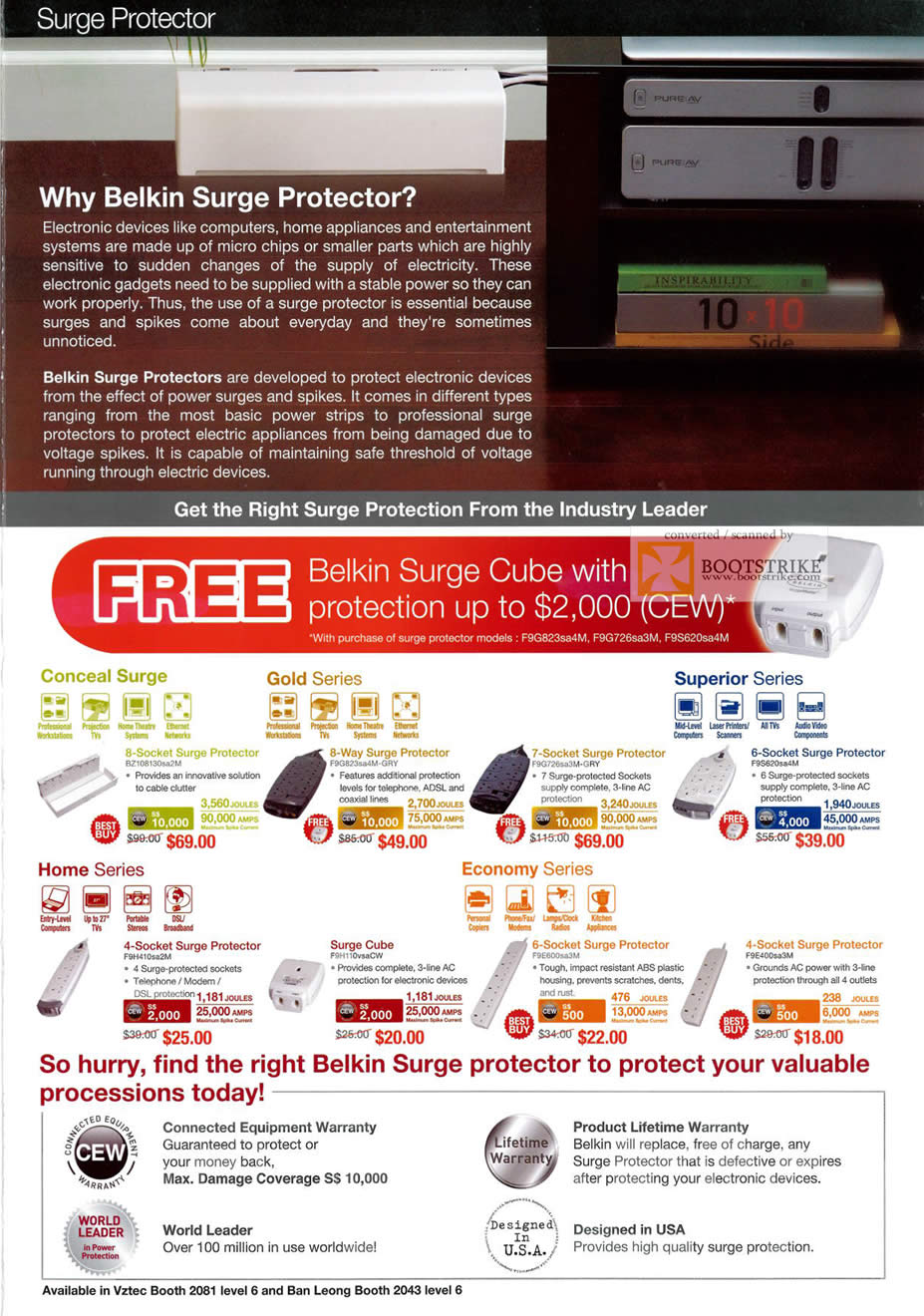 PC Show 2011 price list image brochure of Belkin Surge Protector Conceal Gold Superior Home Cube Economy Socket