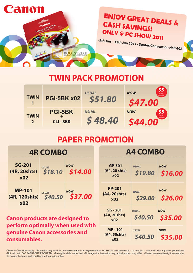 PC Show 2011 price list image brochure of Canon Paper Twin Pack 4R A4 PGI-5BK CLU-88K SG-201 MP-101 GP-501 PP-201 SG-201 MP-101