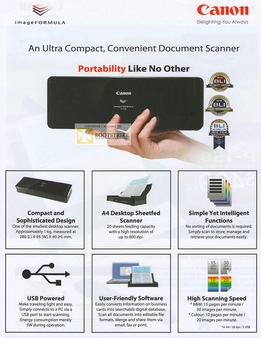 PC Show 2011 price list image brochure of Canon Scanner P-150 Document Features Sheetfed Portable USB