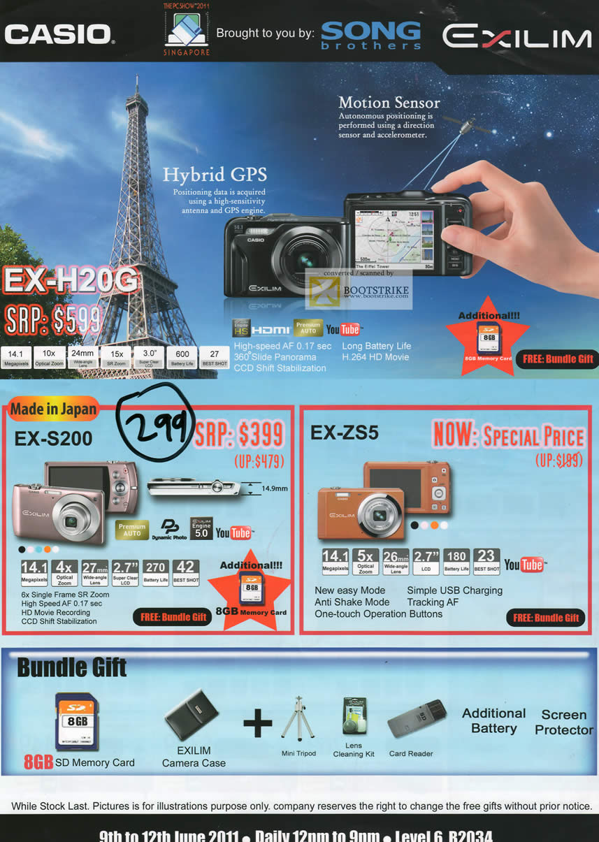 PC Show 2011 price list image brochure of Casio Song Brothers Digital Cameras EX-H20G S200 ZS5