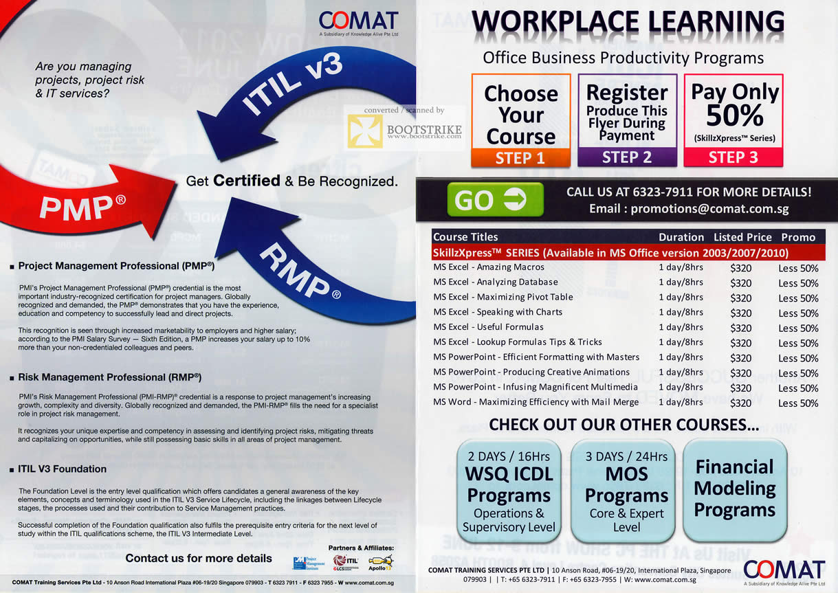 PC Show 2011 price list image brochure of Comat ITL V3 PMP RMP Workplace Course Microsoft Excel Powerpoint Word WSQ ICDL Financial Modeling Programs