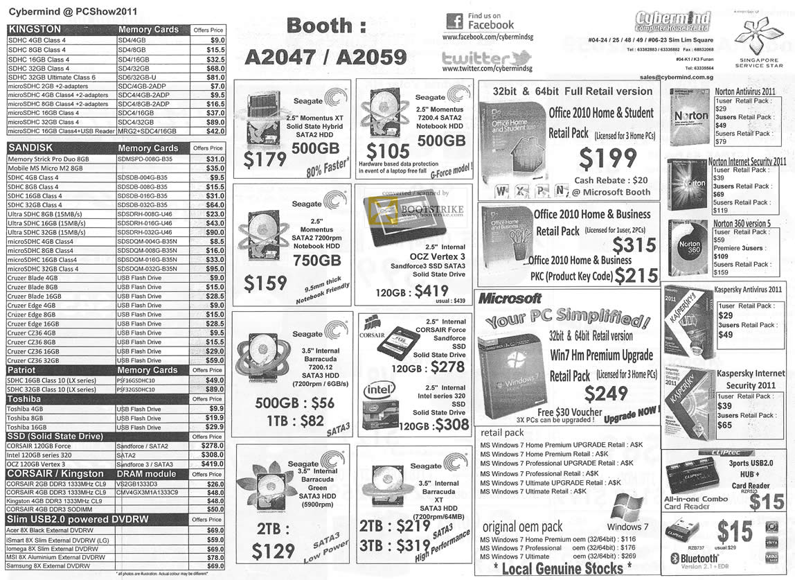 PC Show 2011 price list image brochure of Cybermind RAM Memory Kingston Sandisk Flash Drive Patriot Toshiba SSD Corsair External DVD-RW Storage Internal HDD Microsoft Anti Virus Kaspersky
