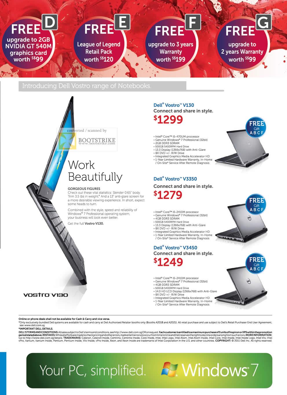 PC Show 2011 price list image brochure of Dell Notebooks Business Vostro V130 V3350 V3450