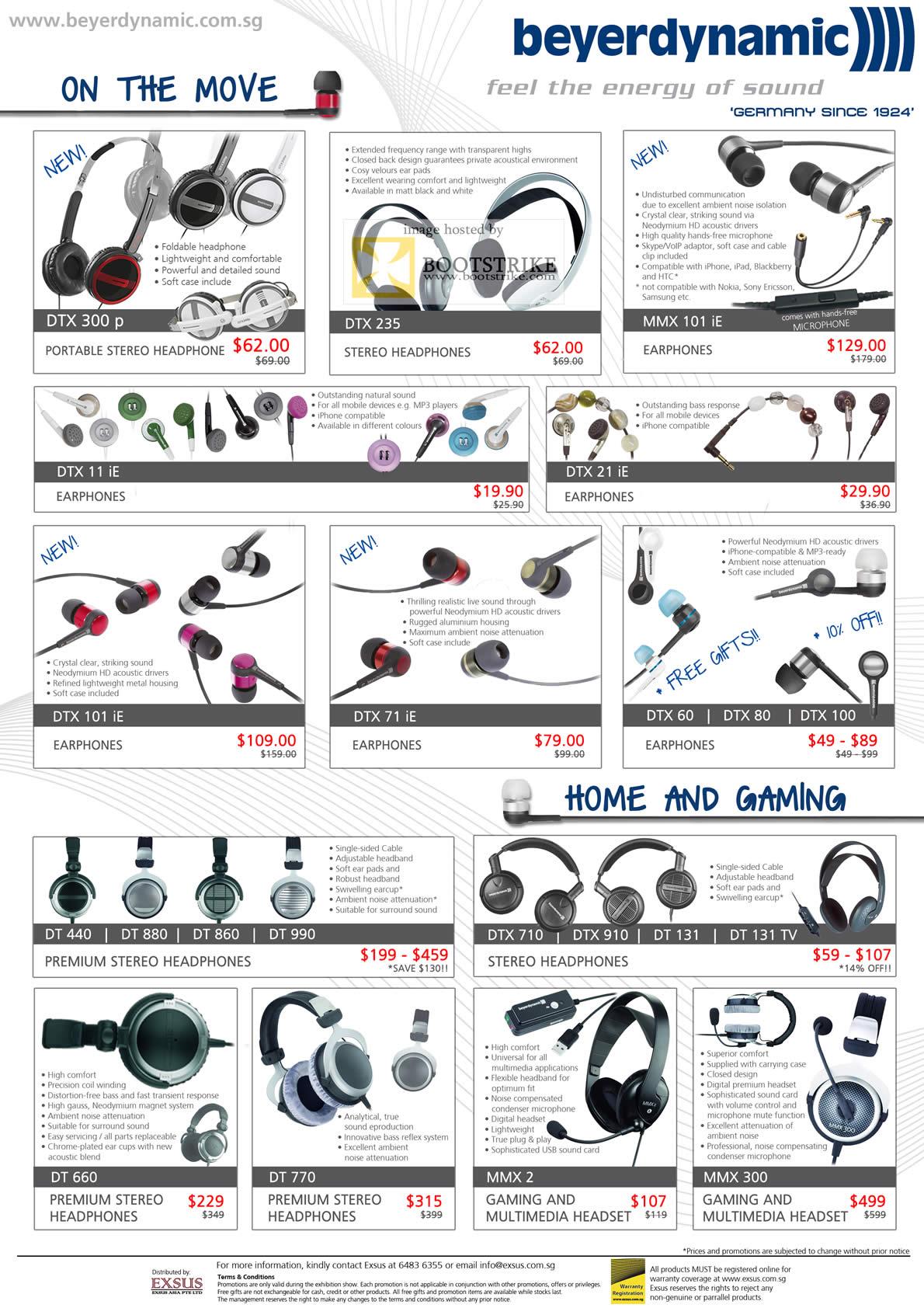 PC Show 2011 price list image brochure of EpiCentre Beyerdynamic Headphones Earphones Mic DTX 300 P 235 MMX 101 IE 11 21 DT DTX MMX 300 2 DT 660 770 440 880 860 990