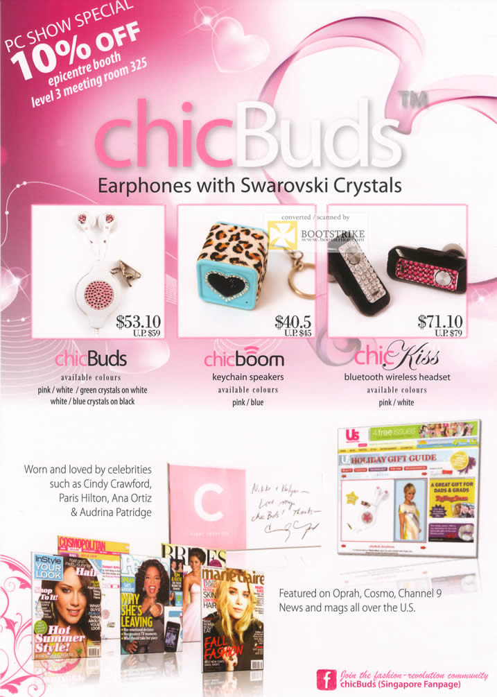 PC Show 2011 price list image brochure of EpiCentre ChicBuds Earphones Swarovski Crystal ChicBoom ChicKiss Speakers Headset Bluetooth Wireless