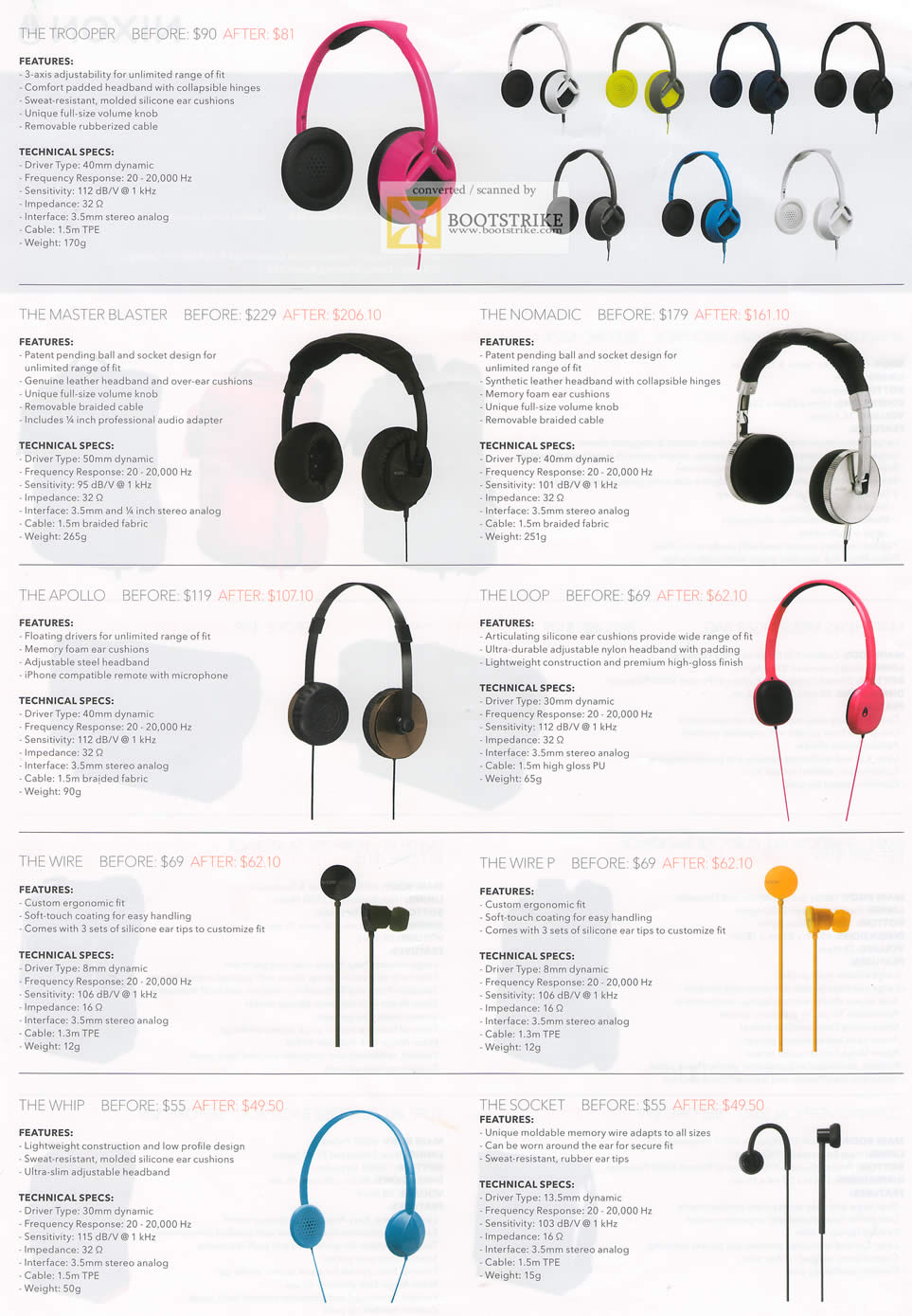 PC Show 2011 price list image brochure of EpiCentre Nixon Headphones The Tropper Master Blaster Nomadic Apollo Loop Wire P Whip Socket