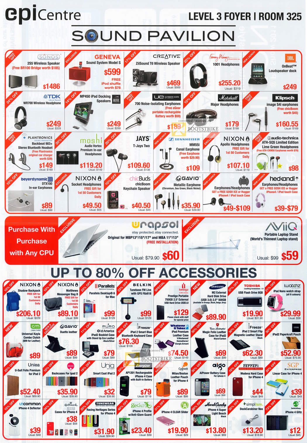 PC Show 2011 price list image brochure of EpiCentre Sound Pavilion Accessories Speaker Headset Headphones Earphones Case IPad IPhone Folio Flash USB Ultimate Ears Klipsch Jays Chicbuds Gavio TDK Belkin