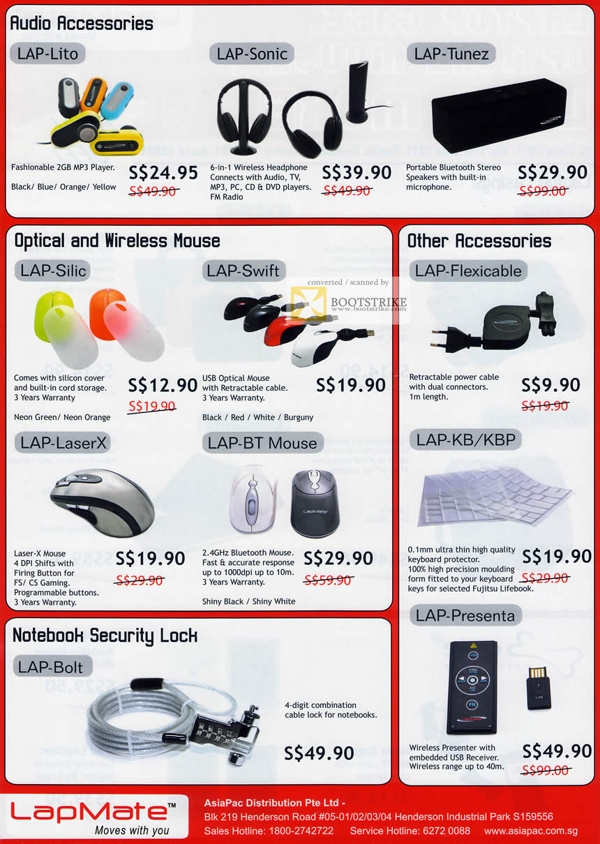 PC Show 2011 price list image brochure of Fujitsu LapMate Audio Lite Sonic Tunez Mouse Silic Swift LaserX Flexicable KB KBP Security Lock Bolt Presenta Wireless Presenter