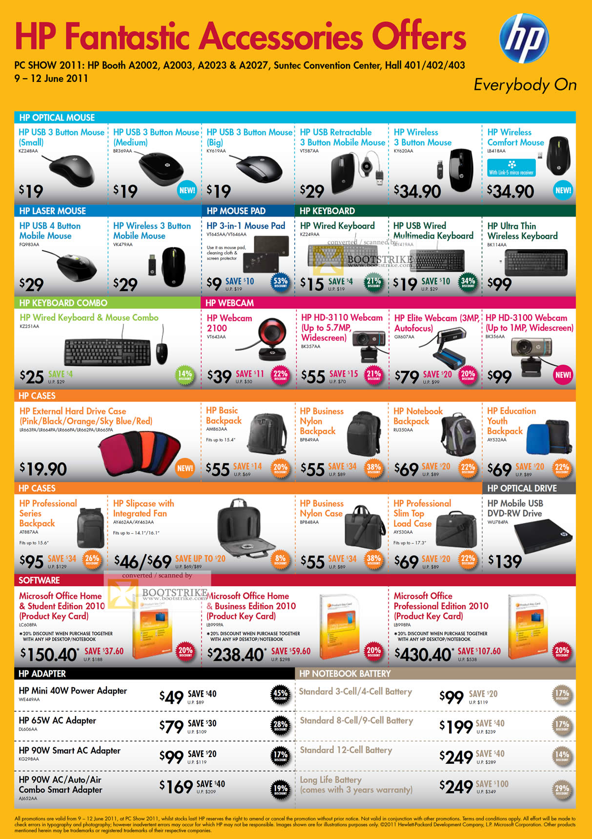 PC Show 2011 price list image brochure of HP Accessories Mouse Keyboard Wireless Comfort Webcam Case Backpack DVD-RW External Microsoft Office Home Business Professional Power Adapter Notebook Battery