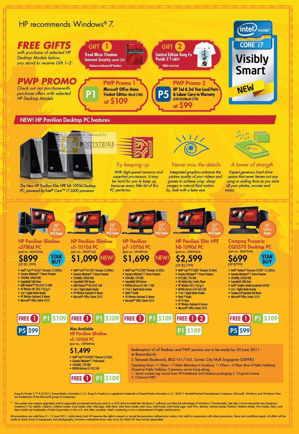 PC Show 2011 price list image brochure of HP Desktop PC Pavilion SLimline S5780d S5-1010d P7-1070d H8-1090d Compaq Presario CQ3570 Slimline S5-1050d