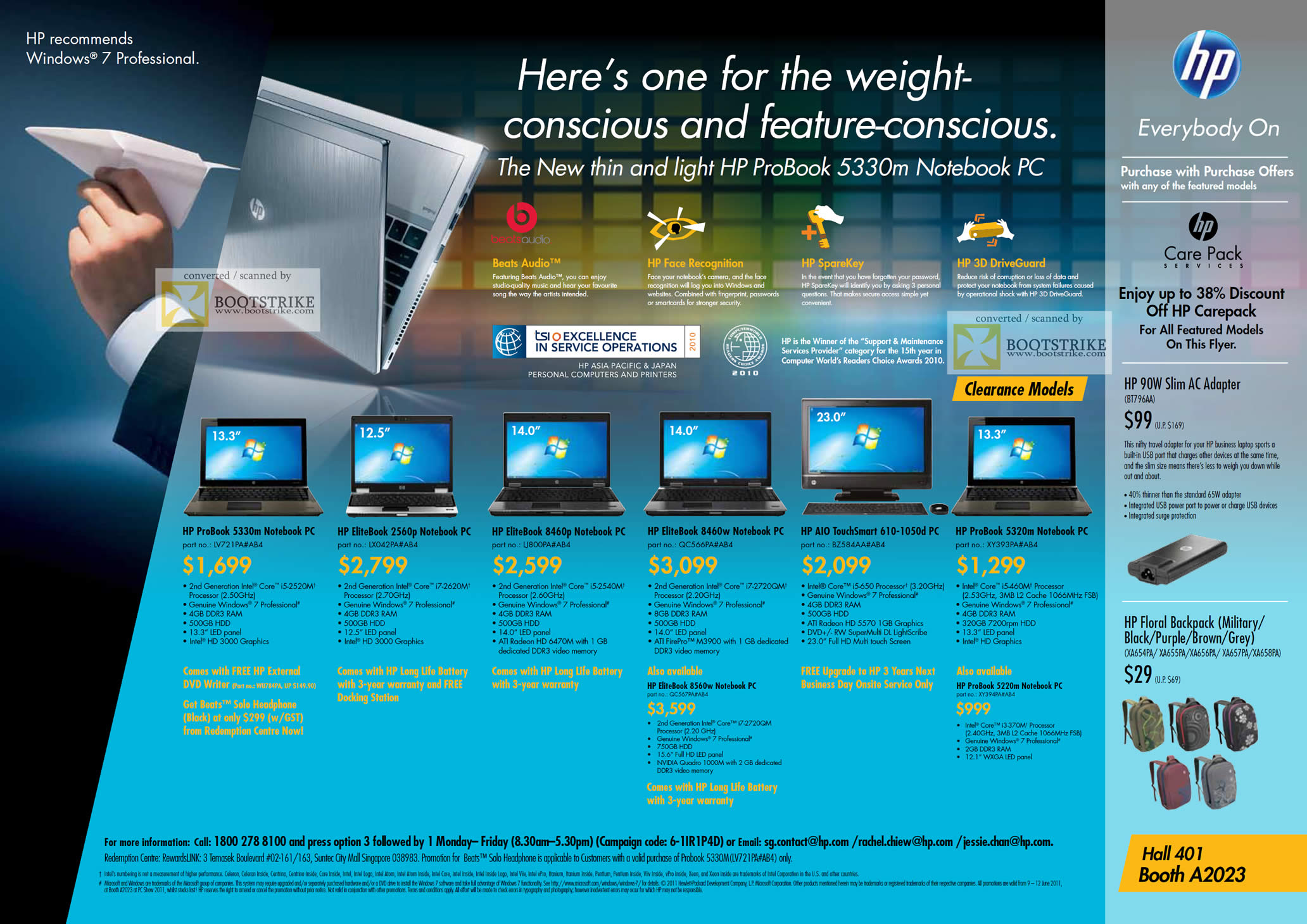 PC Show 2011 price list image brochure of HP Notebooks Desktop PC Business ProBook 5330m EliteBook 2560p 8460p 8460w 8560w AIO TouchSmart 610-1050d 5320m