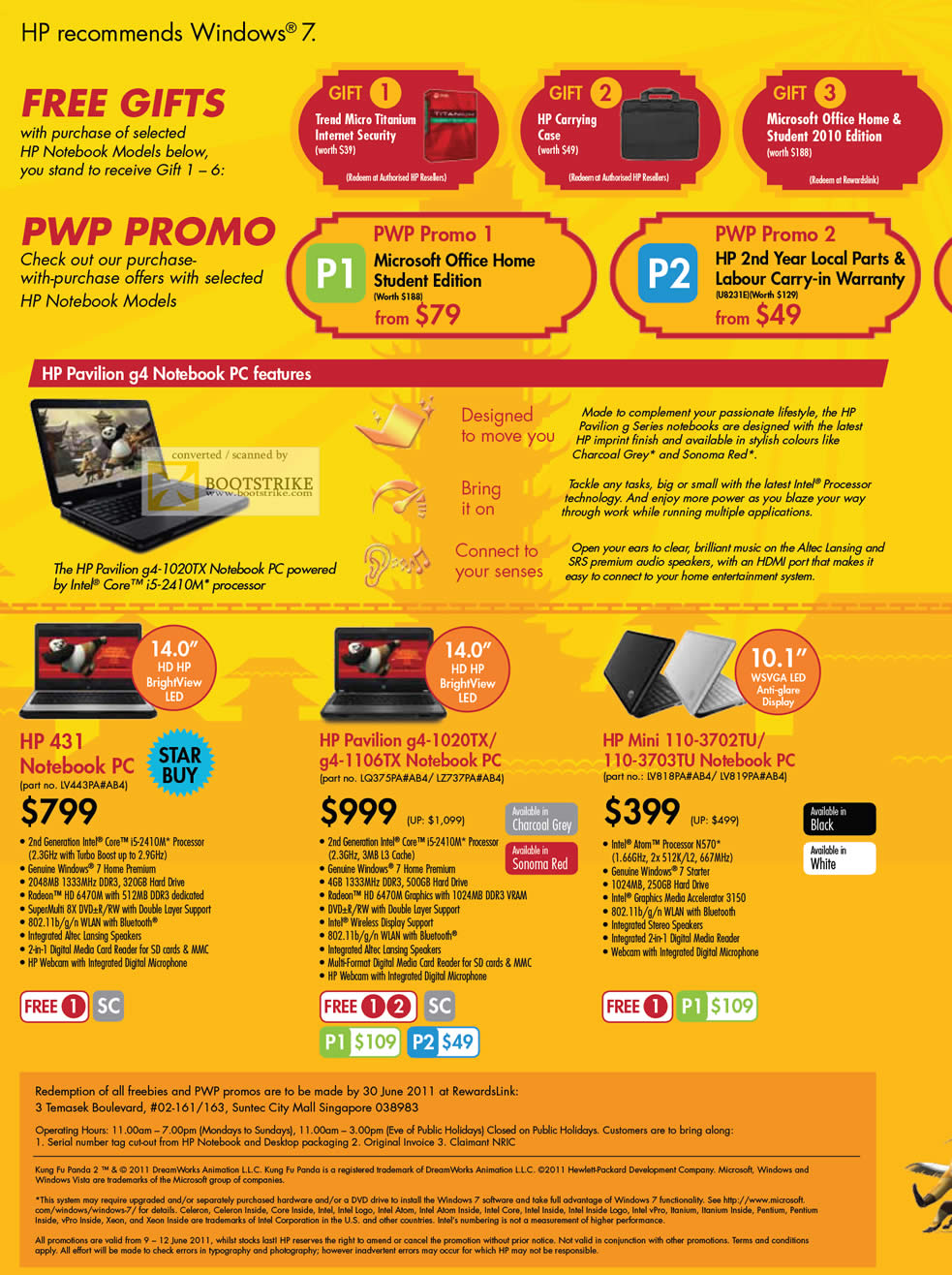 PC Show 2011 price list image brochure of HP Notebooks Pavilion 431 G4-1020TX G4-1106TX Mini 110-3702TU 110-3703TU