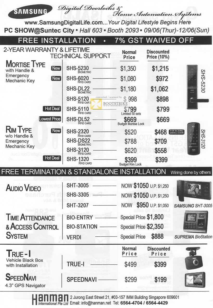 PC Show 2011 price list image brochure of Hanman Samsung Digital Doorlocks Home Automation System Mortise RIM Handle SHS 5230 3120 True-I SHT-3005 Suprema BioStation
