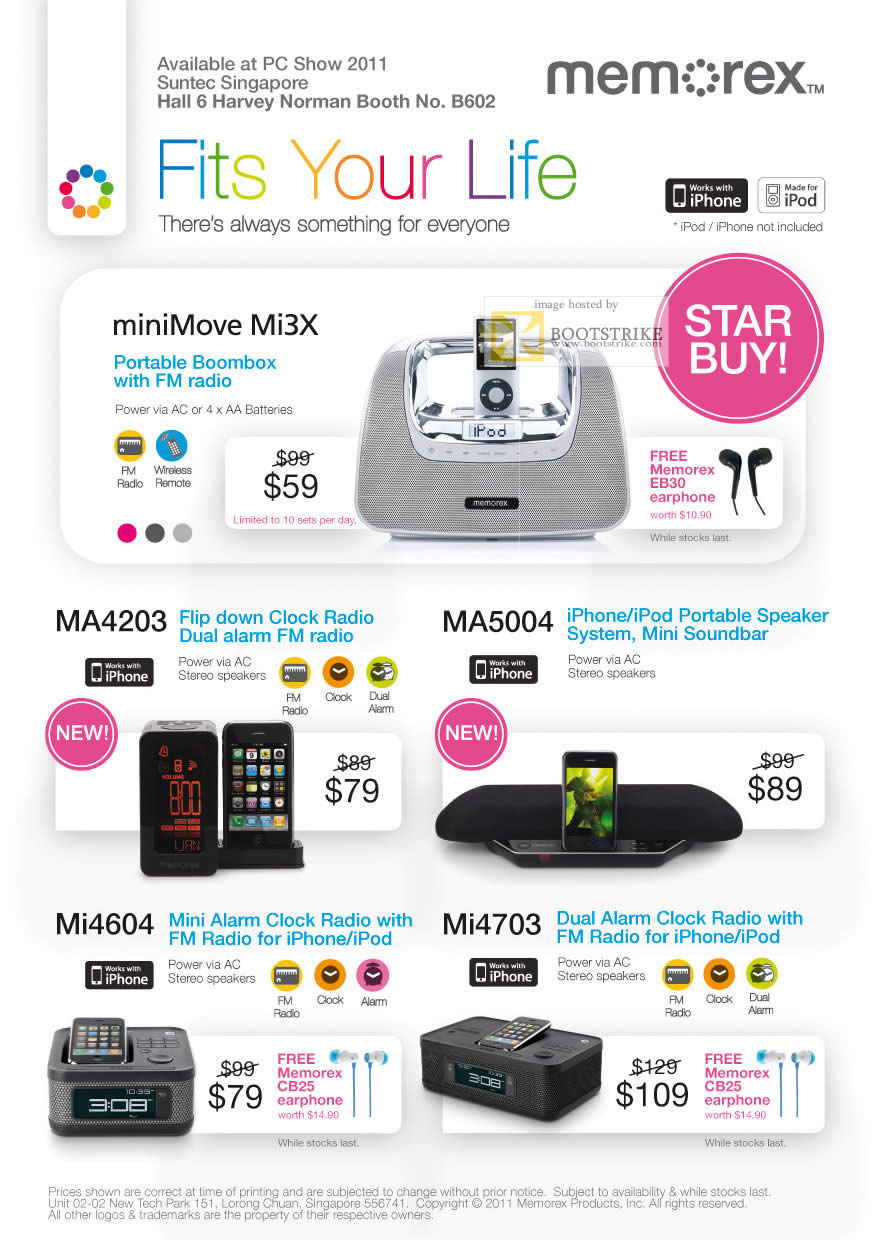 Harvey Norman Memorex Minimove Mi3x Speakers Alarm Clock Radio Pc Show 2011 Price List Image Brochure Of