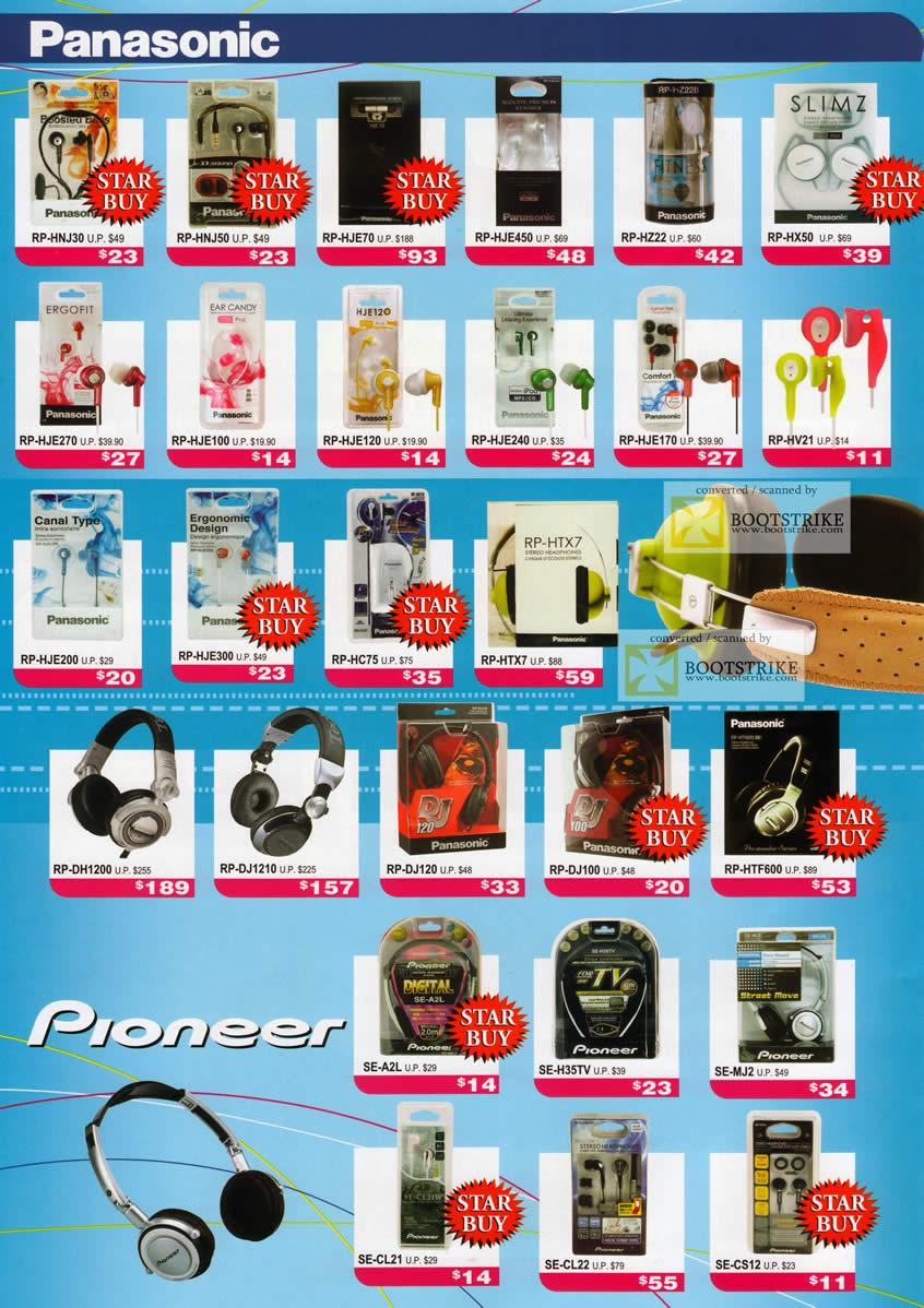 PC Show 2011 price list image brochure of Headphones Gallery Panasonic Pioneer RP HNJ30 HJE450 HX50 HC75 HTX7 DH1200 DJ1210 DJ120 HTF600 SE
