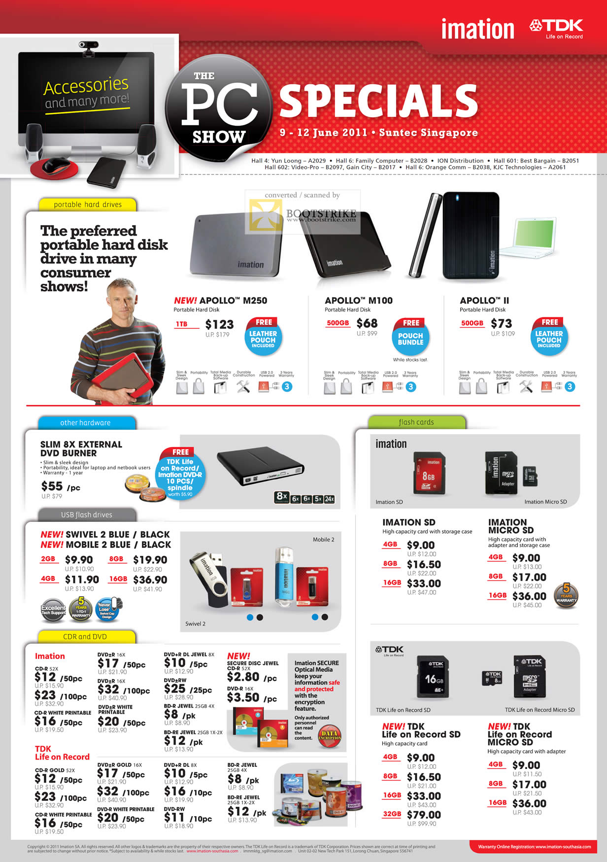 PC Show 2011 price list image brochure of Imation TDK External Storage Apollo M250 M100 II USB Flash Drive Swivel 2 Mobile Memory MicroSD SD CD-R DVD-R