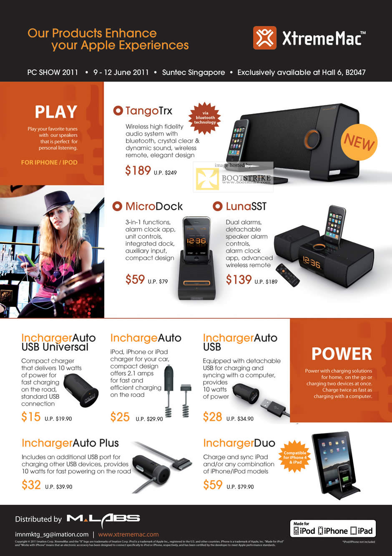 PC Show 2011 price list image brochure of KJC XtremeMac IPhone IPod Dock TangoTrx MicroDock LunaSST Incharger
